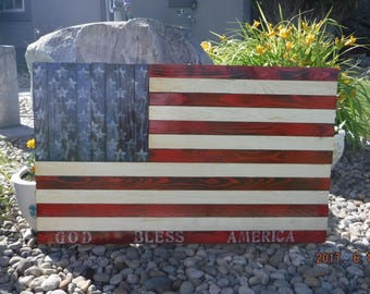 God Bless America stamped Rustic Wooden Flag