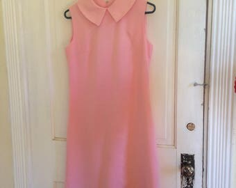 Andrea Gayle pink sleeveless mod shift dress 1960s 1970s