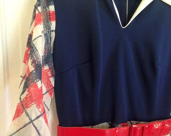 Vintage Red white and blue collared maxi dress with sheer sleeves and skirt 1970s 4th of July