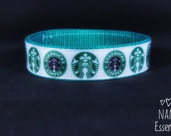 Handmade Adjustable Starbucks Dog Collar -- Size M PM to request more sizes