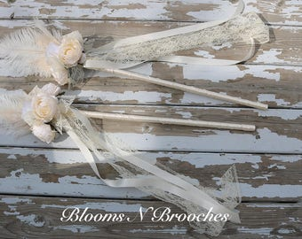 Flower girl wand, Flower girl wands, flower basket alternative, wedding wand, feather wands, ivory flower girl, Shabby chic wedding