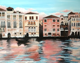 Venice In Pink: Original Painting on Canvas