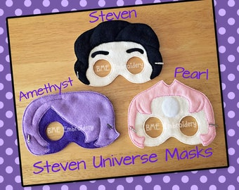 Steven Universe Inspired Felt Masks- Steven-Amethyst-Pearl-Child's Dress Up Imaginary Play- Birthday Party Favor-Photo Shoot-Theme Party
