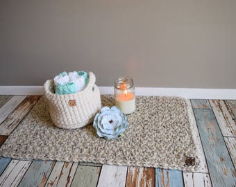 Kitchen rug, bath mat, chunky crocheted, neutral, oatmeal, cabin, camper, nursery, kitchen, bathroom ***can be customized