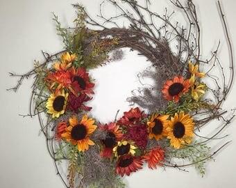 Fall Autumn Sun Flower Wreath