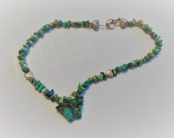 Tiny Turquoise Butterfly necklace