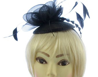 All black hatinator hat on cap and headband, mesh and featherflower, weddings, races, ladies day, formal events