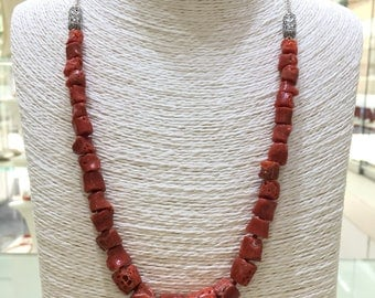 925 Silver necklace with porous natural coral and filigree