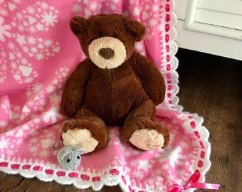 Baby blanket fleece, Pink/White/Flower/Heart/Star soft fleece, FREE USA shipping, baby shower gift, baby afghan blanket, newborn