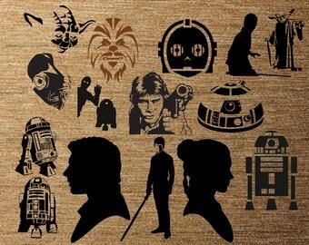 Star Wars Original Trilogy 15 pk PNG Silhouettes for Decals Cricut (Digital Download)