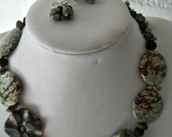 Western Australian Rainforest Jasper necklace with matching ring and earings.