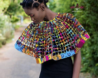 Ankara necklace, cape, African cape , African print, African jewelry,Ankara jewelry,body jewelry ,Ankara, African wax, conversion piece,