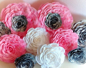 12 giant crepe Paper Flowers pink silver white Nursery Wall Decor Weding Party Bridal Shower Baby Photo backdrop Paper Flowers Wedding wall