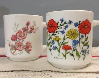 Vintage French ARCOPAL  mug, Arcopal Coffee mug, Arcopal Tea mug, Milk Glass Mug