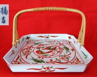 "VJ588:Kashiki plate,Fine Tachikichi porcelain""Akae""style Kashiki sweets tray with Removable bamboo handle,Tea ceremony plate,made in Japan"