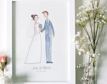 Custom Handmade Wedding Portrait Illustration