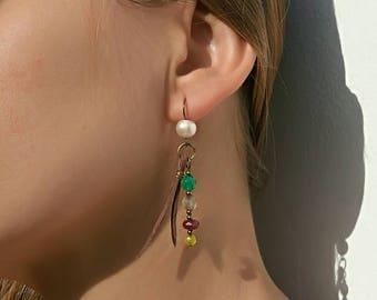 Boho earrings, bohemian earrings, hippie earrings, boho jewelry, pearl earrings, agate earrings, gem leather earrings, earrings for women