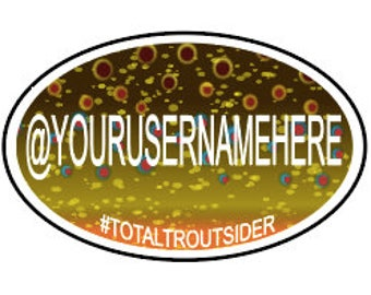 Customized Oval Brown Trout Vinyl Decal (Instagram Name)