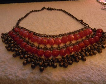 Rose Colored Beaded Necklace