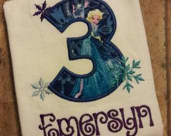 Frozen Birthday Shirt, Embroidered Any Age **fast shipping**