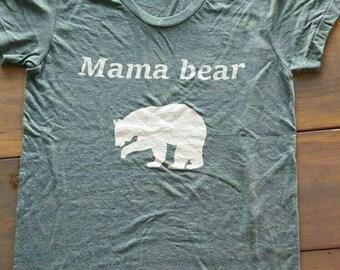 Green mama bear v neck tee