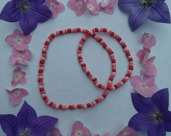 Beaded Anklet and Bracelet Set