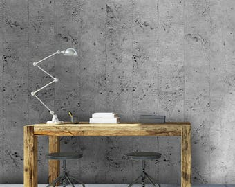 Paper effect painted concrete is hand - Cement Wall Paper 1.20 m X 2.50 m - consolidated roller Rolls Non-woven. Made in France