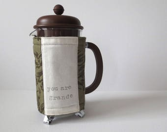Cafetiere Warmer - French Press Coffee Maker Cosy Gift; Handmade Olive Green Cotton Cozy Cover Present w/ Button & Elastic by Proxy Goods