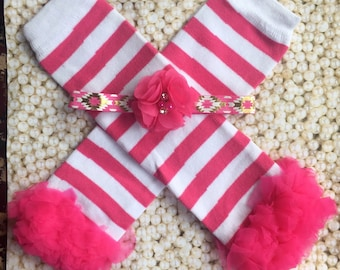 Hot Pink and white leg warmers with matching flower headband/ baby leg warmers
