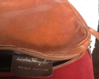 Vintage Salvatore Ferragamo small leather brown bag