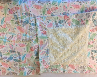 Cream/Pink/Blue Feathers baby Blanket