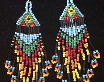 Native American Design Hand Made Seed Bead-Bugle Bead Earrings