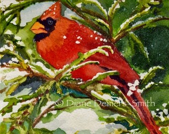 Red Cardinal bird card, notecard,watercolor card,Diane Demers-Smith,dianeartistpotter ,greeting cards, stationary,  birds series.spiritual