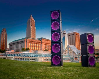 "8.5"" x 11"" in Print of Rock and Roll Cleveland Skyline. FREE SHIPPING!!!"