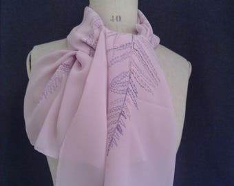 Fern hand painted silk scarf. One off piece