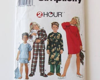 Boy and Girl Pajamas, or Nightgown and Robe, Simplicity 7407- Uncut