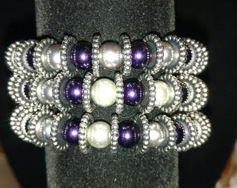 Purple and silver wrap bracelet
