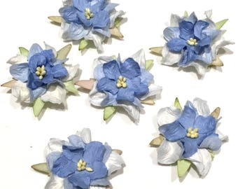 Two Tone Blue Layered Mulberry Paper Gardenias Pg006