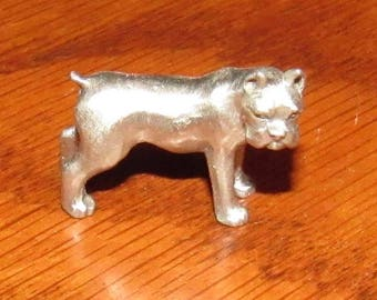 Vintage Rawcliffe Pewter Miniature Boxer Dog Figurine, New Old Stock