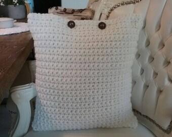 Hand made crocheted pillow