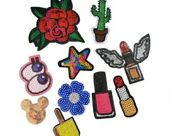 10PCs Mixed Patches Handmade Iron On Sequin Embroidered Applique DIY Garment Ornaments Cute Fabric Badge Accessories