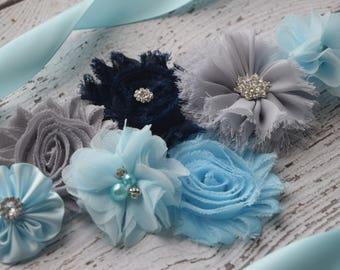 Sash, light blue grey dark navy sash, #2, flower Belt, maternity sash, wedding sash, flower girl sash, maternity sash belt