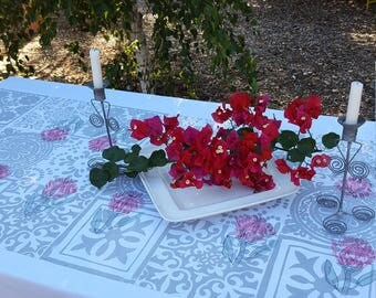Tablecloth hand painted protea design