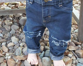12 month Baby ripped jeans distressed denim kids