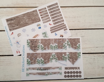 February Mini Happy Planner Weekly Kit, Winter, Cold, Snow, Snowman, Woods