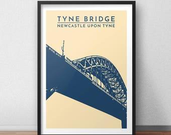 Tyne Bridge Minimalist Print - Newcastle Upon Tyne, Landmark, City Print, Travel Poster