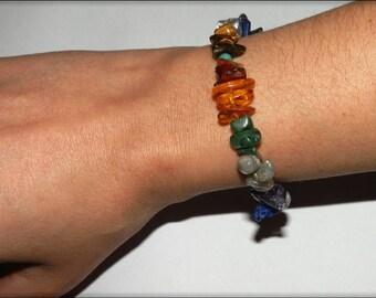 Bracelet en AMBRE, TURQUOISE, oeil de tigre, cristal de roche, lapis lazuli, Améthyste, Aventurine, Labradorite, Jade et argent 925