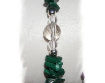 MALACHITE and rock crystal and 925 sterling silver bracelet
