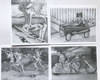 Set of 4 note cards-zombie pin up chicks; b&w series