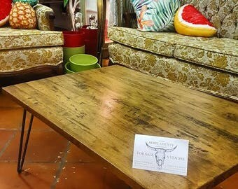 Reclaimed Maple Coffee Table with Steel Hairpin Legs